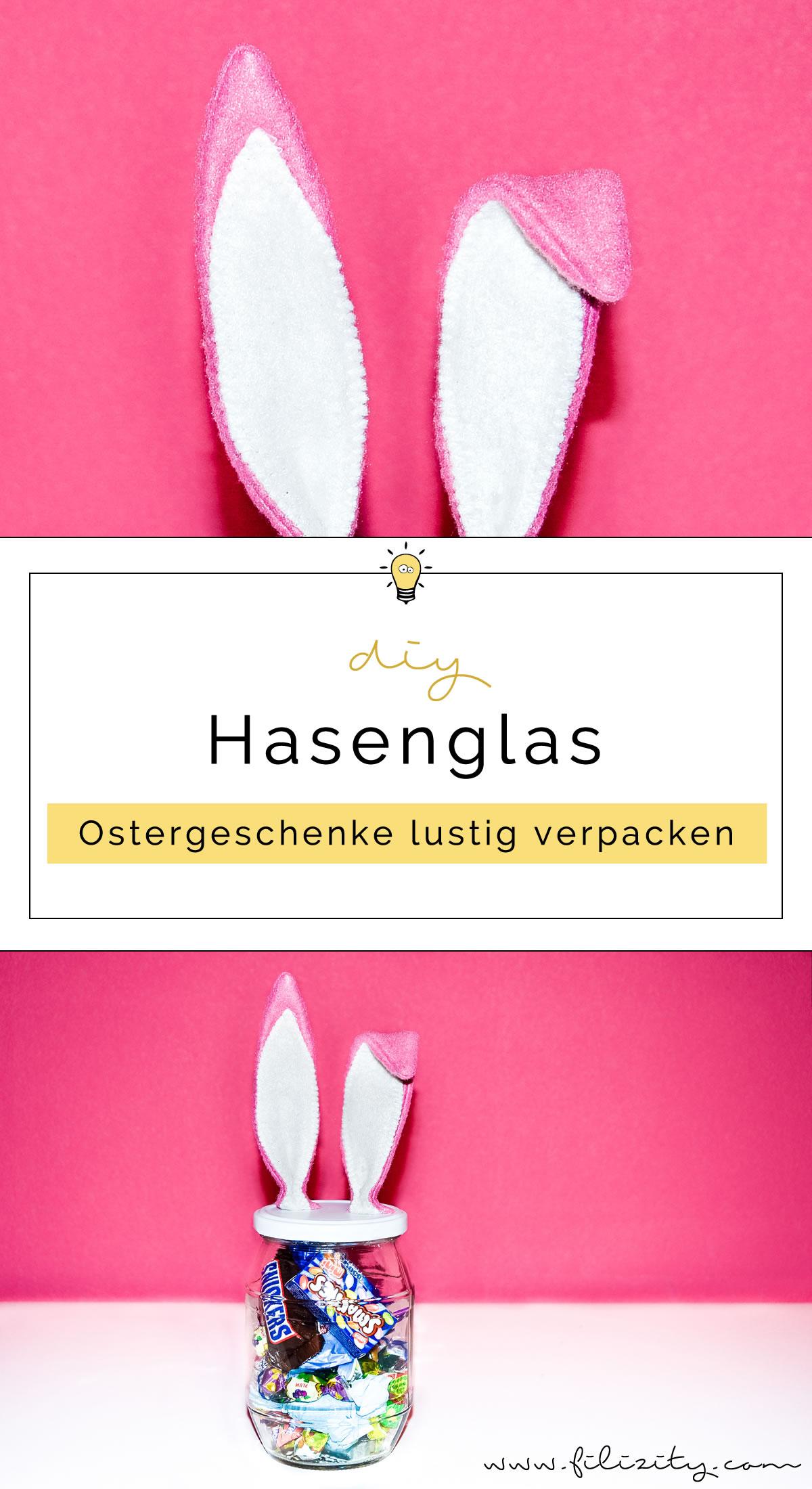 Ostergeschenke verpacken: DIY Süßigkeitenglas mit Hasenohren | Filizity.com | DIY-Blog aus dem Rheinland #ostern #geschenkidee