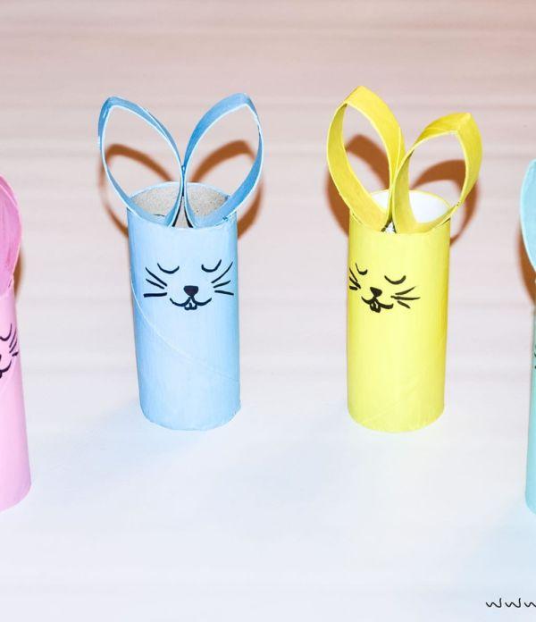 Basteln mit Kindern: Osterhasen aus Papierrolle