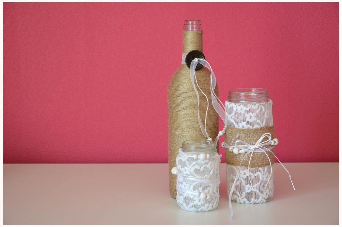 Fest umschlungen... DIY-Vasen aus alten Flaschen
