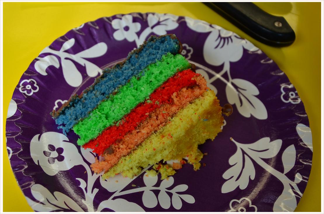 Regenbogen-Kokos-Kuchen mit Schokoglasur