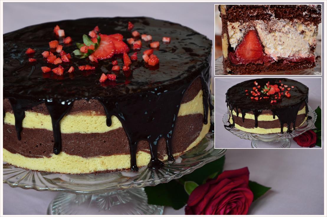 Mmmontags-Rezept: Knackige Erdbeer-Schokoladen-Torte mit gestreiftem Biskuit & Glanzguss