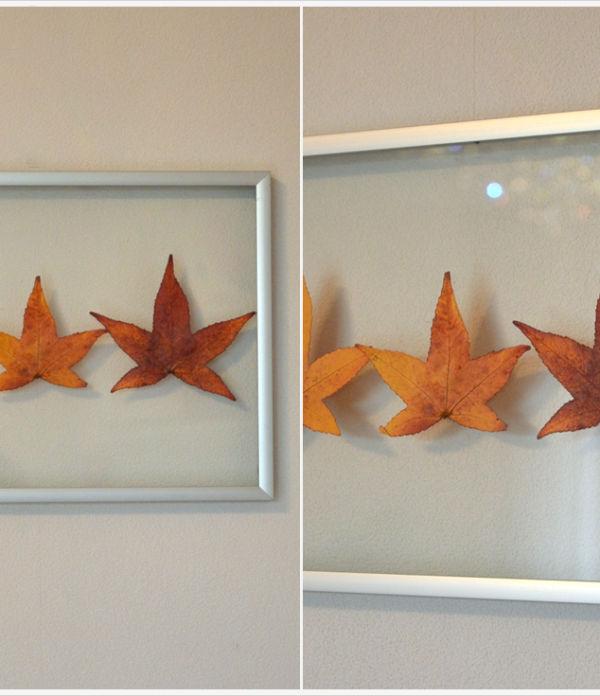 DIY-Dienstag: Herbstliches Wandbild aus gepressten Blättern