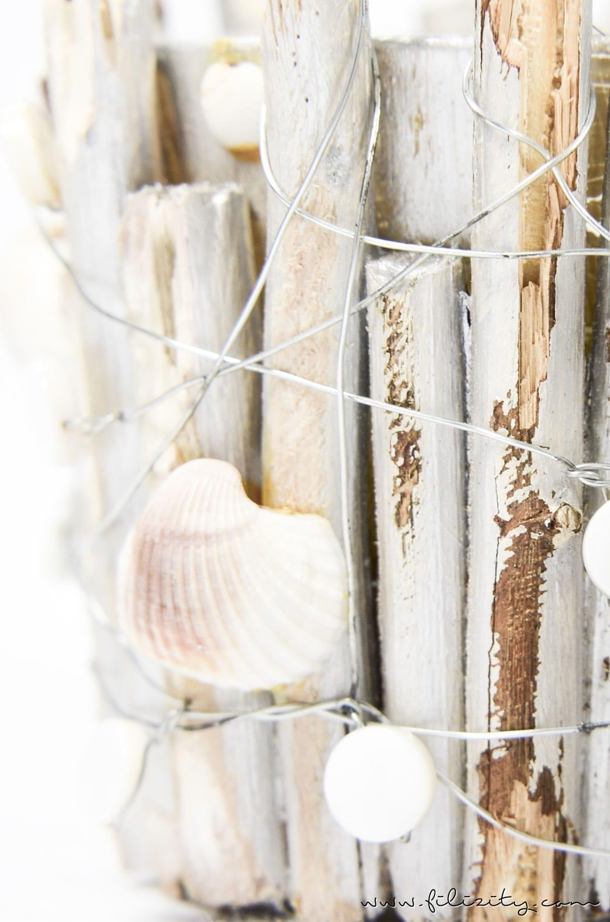 Sommer-DIY: Maritime Windlichter mit Muscheln und Holz