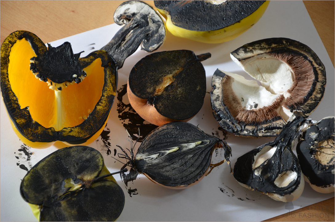 Küchenbilder stempeln mit Obst und Gemüse