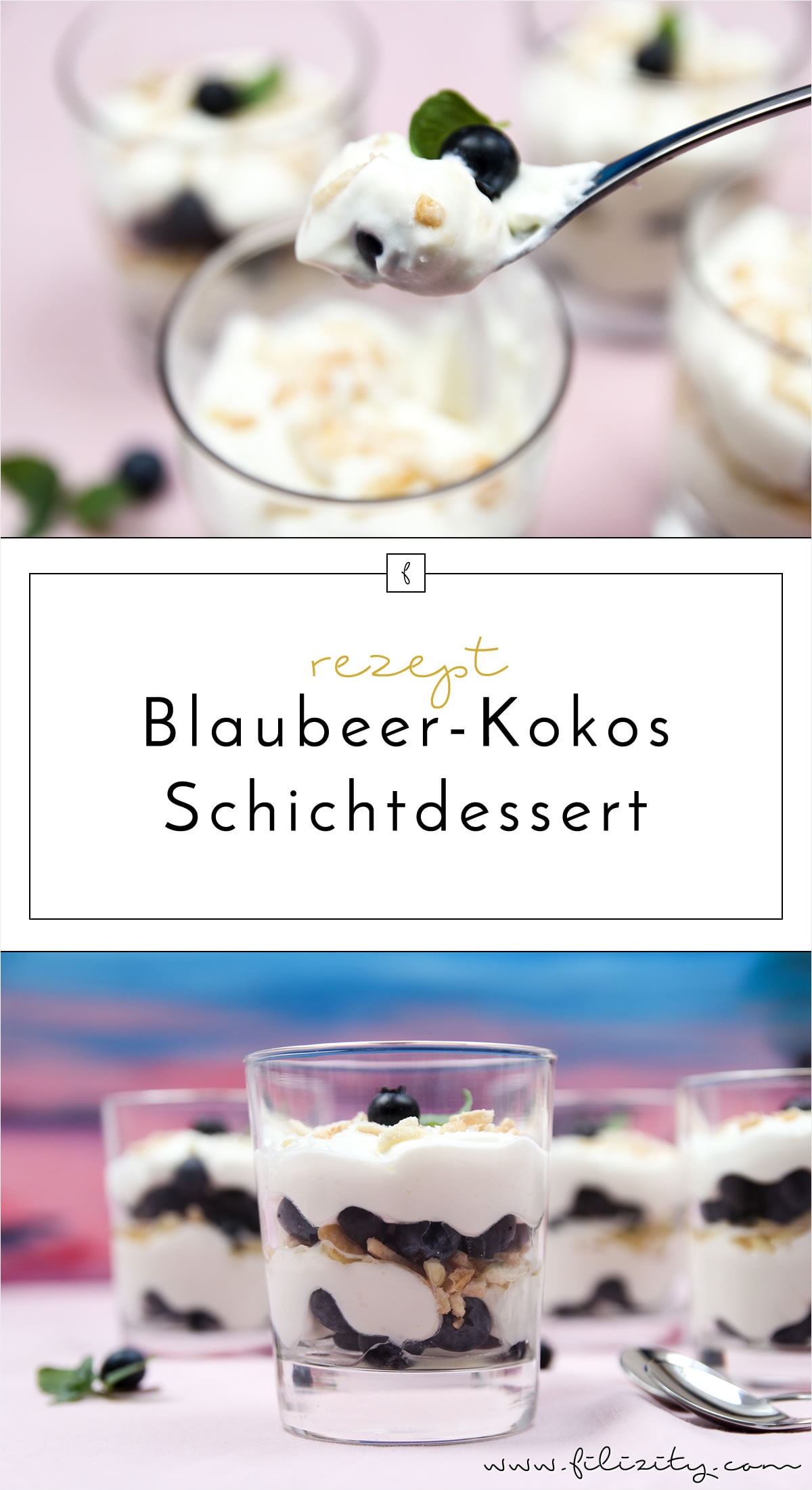 Sommer-Rezept: Blaubeer-Frischkäse-Schichtdessert mit Kokos