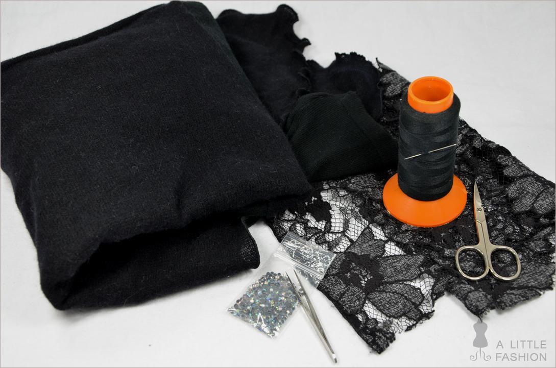 Spitzenteil: Strickjacke mit Spitze aufhübschen