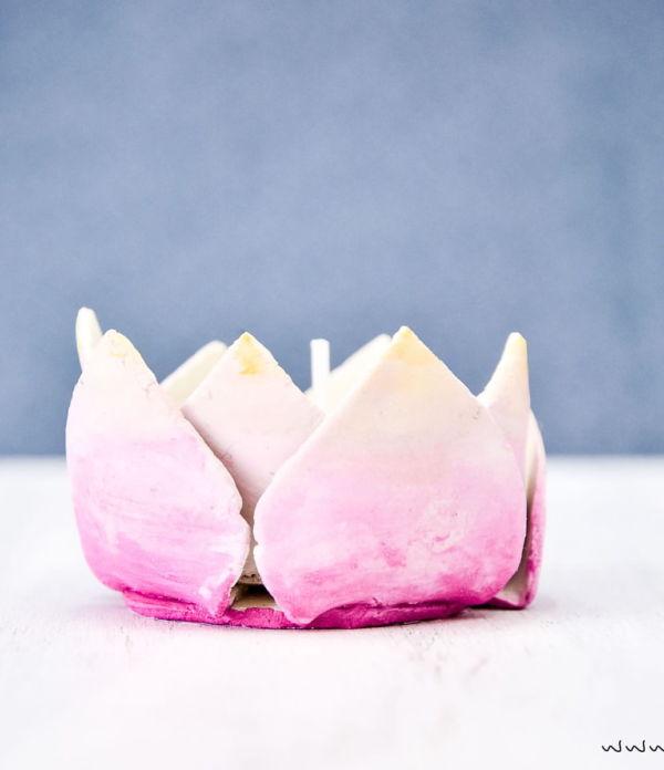 DIY Frühjahrsdeko: Blumige Ton-Teelichthalter