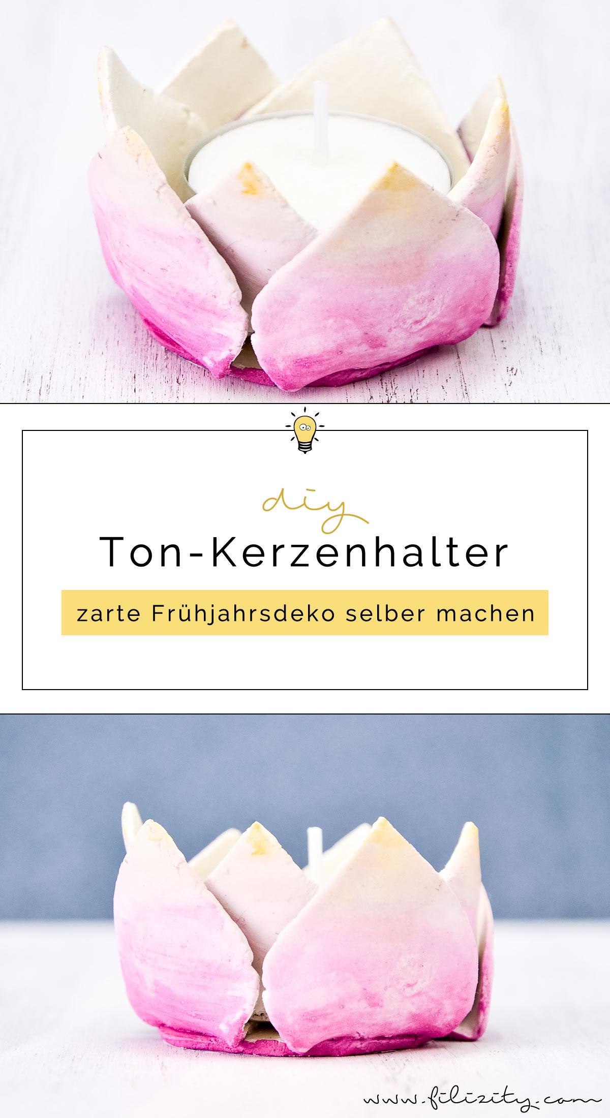 DIY Frühjahrsdeko: Blumige Ton-Teelichthalter mit Aquarell-Muster selber machen | Filizity.com | DIY-Blog aus dem Rheinland #frühling #blumen