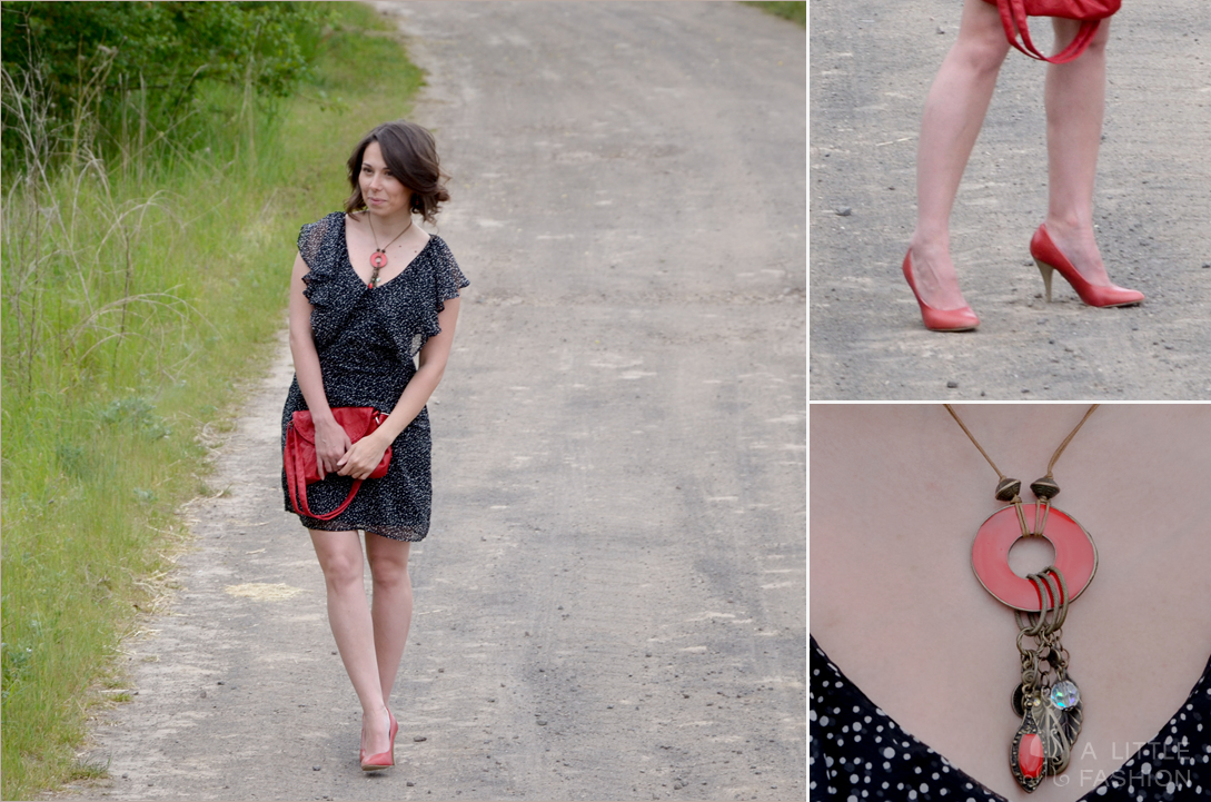 Red pumps & polkadot dress