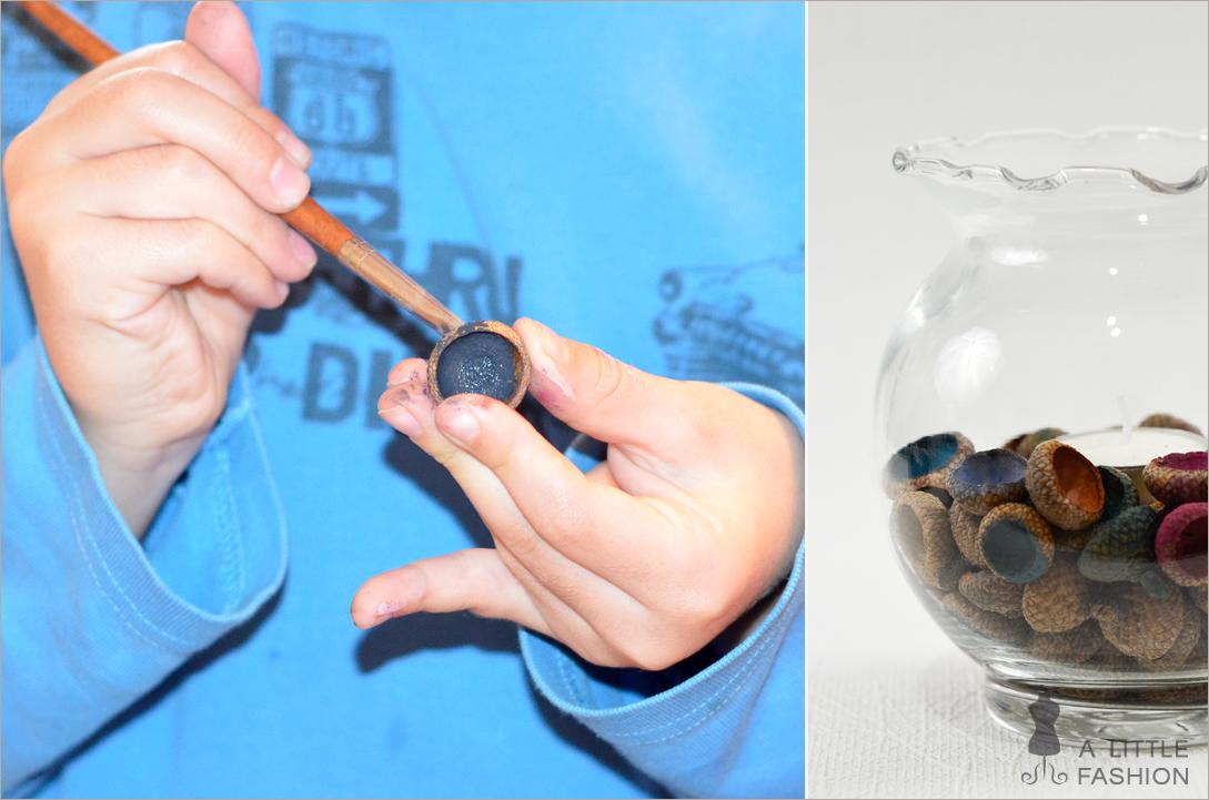 Kinderleichte Herbstdeko: Kerzenglas mit Eichelkappen