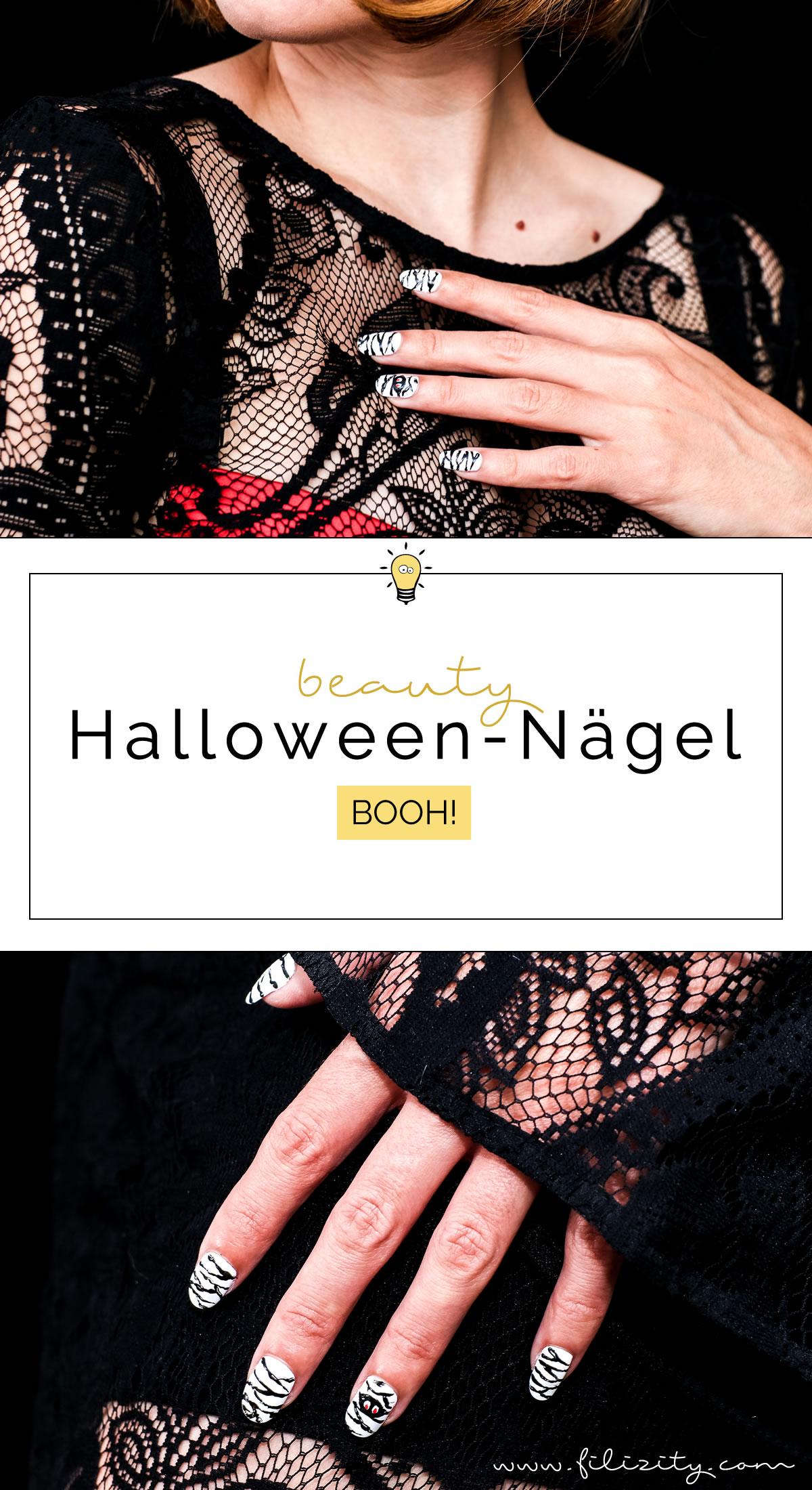 """Lustiges Halloween Nageldesign """"Mumien"""" - Einfache Maniküre Idee #halloween #nagellack"""