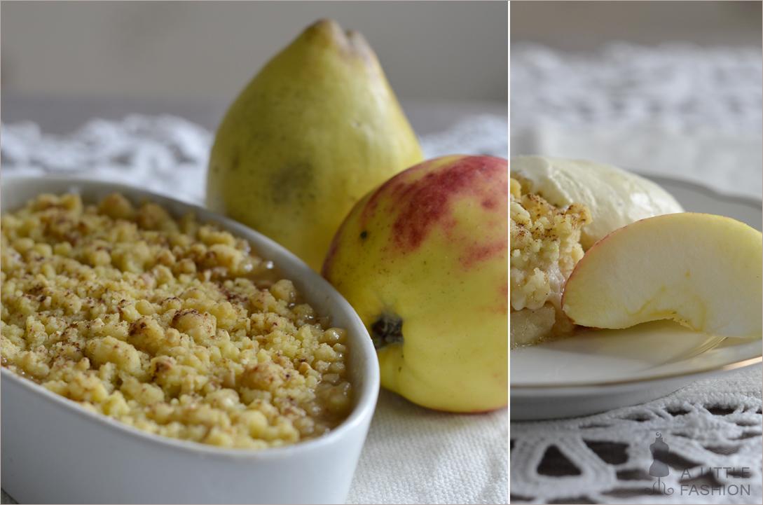 Rezept: Apfel-Quitten-Crumble mit Vanilleeis