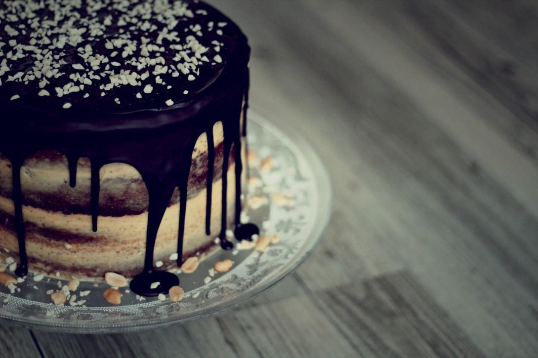 Naked Chocolate Peanut Cake