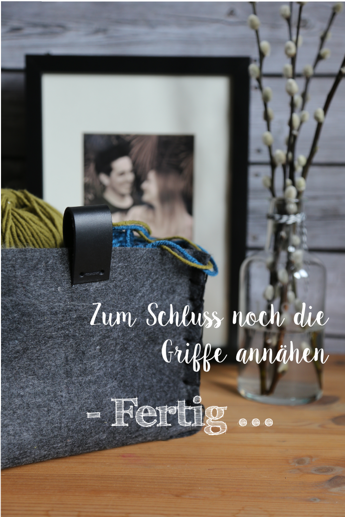 Körbchen aus Wollfilz Korb Filz Filzkörbchen DIY fräulein coquetterie grau anthrazit