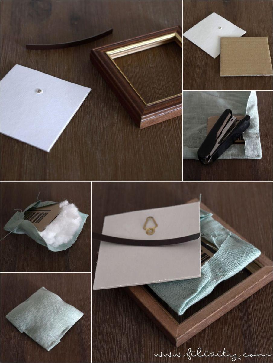 bilderrahmen selber machen anleitung, schöne upcycling-idee: praktische nadelkissen aus bilderrahmen und, Design ideen