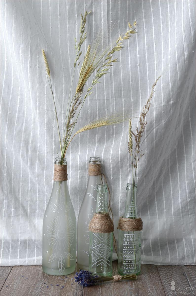 Diy bohemian shabby deko flaschen bemalen1 - Deko mit flaschen ...