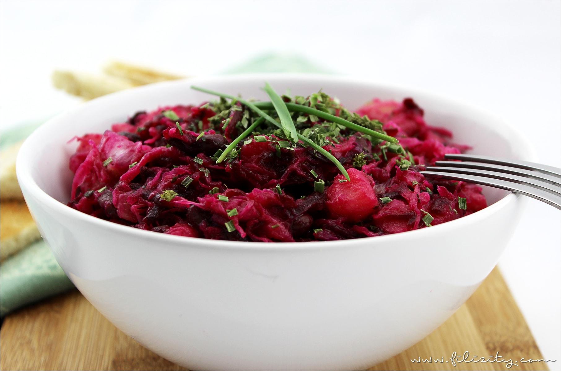 Vinaigrette - knallroter Kartoffelsalat | A Little Fashion | https://www.filizity.com/rezepte/vinaigrette-knallroter-kartoffelsalat