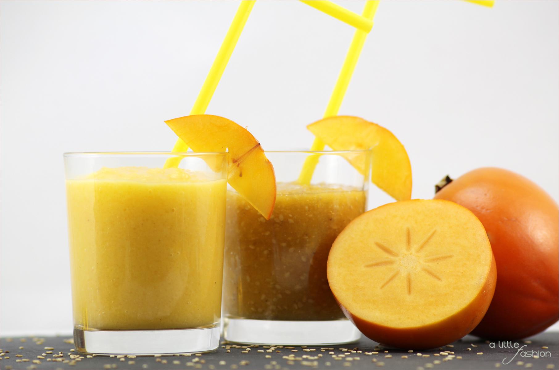 Rezept food kaki orangen kokos banane sesam smoothie1 for Cuisine kaki