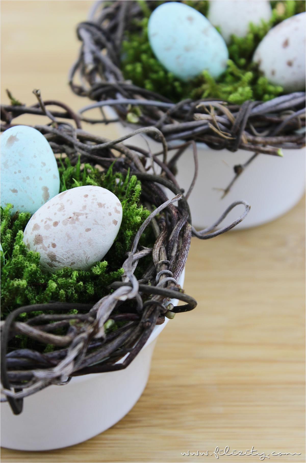 DIY Osternester mit Moos und Wachteleiern aus Modelliermasse