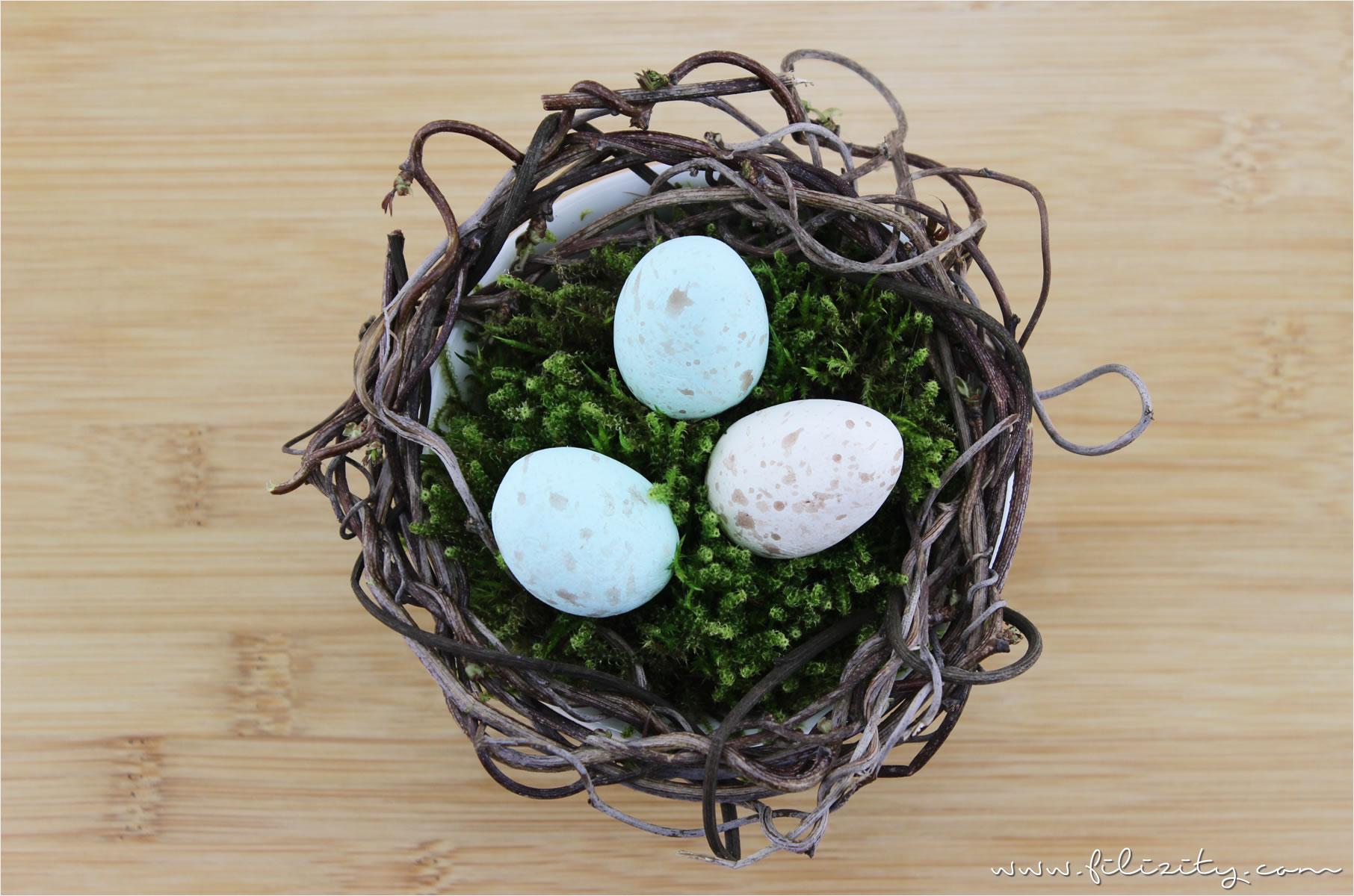 Osternester mit Wachteleiern aus Modelliermasse