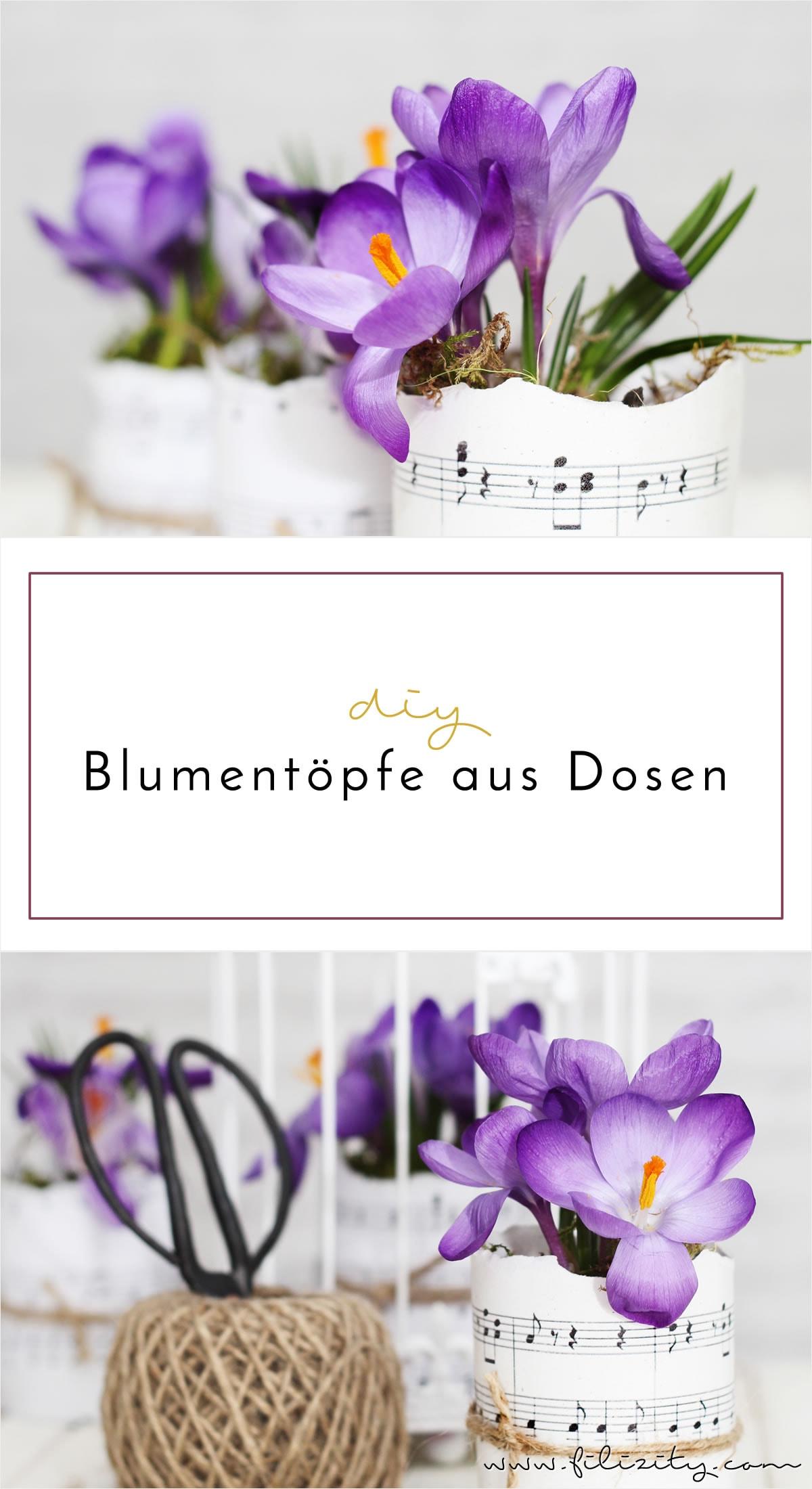 Deko-DIY: Blumentöpfe aus Dosen und Notenblättern