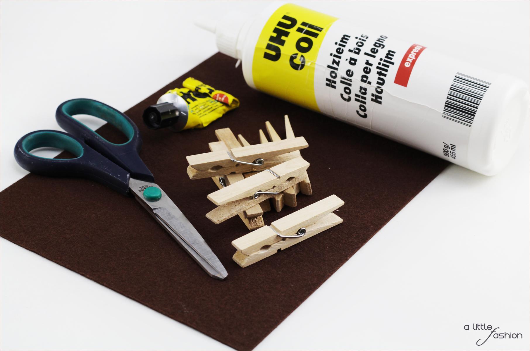 Untersetzer Holz Wäscheklammern ~ Wäscheklammern aus Holz Holzleim Schere Filzstoff Allerkleber