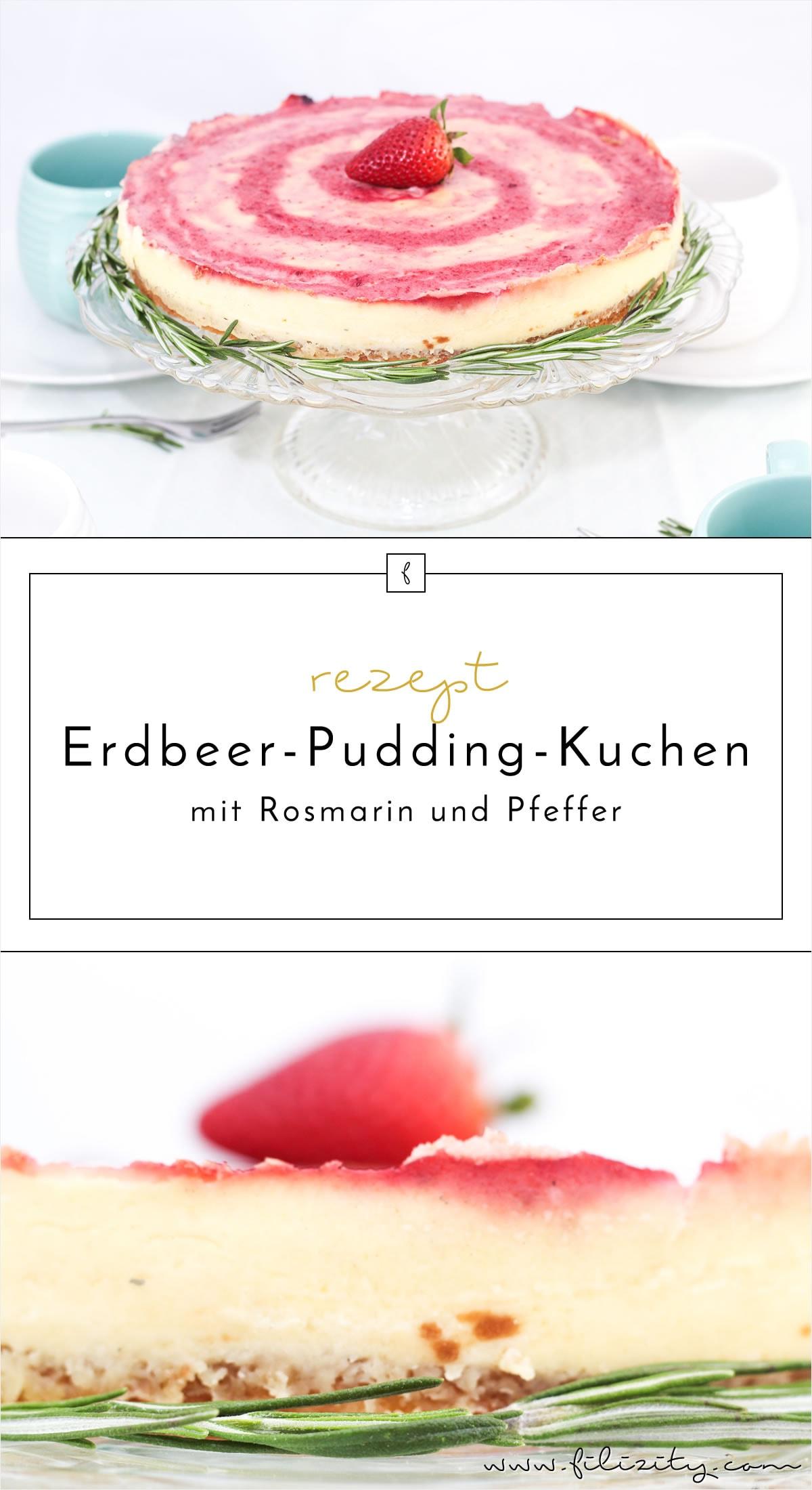 Erdbeer-Pudding-Kuchen mit Pfeffer und frischem Rosmarin  -  sommerliches Kuchenrezept für Experimentierfreudige