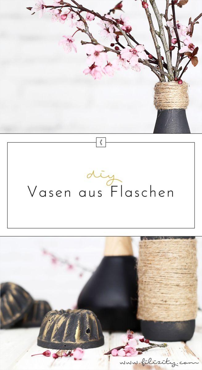 Edle Deko günstig selber machen: Jute-Vasen aus Flaschen | Upcycling DIY Dekoidee von Filizity.com | Interior- & DIY-Blog aus dem Rheinland #upcycling