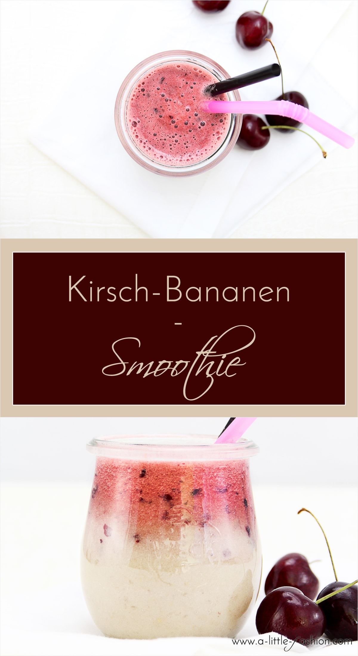 Kirsch-Bananen-Smoothie + Giveaway | A Little Fashion | https://www.filizity.com/food/kirsch-bananen-smoothie-giveaway