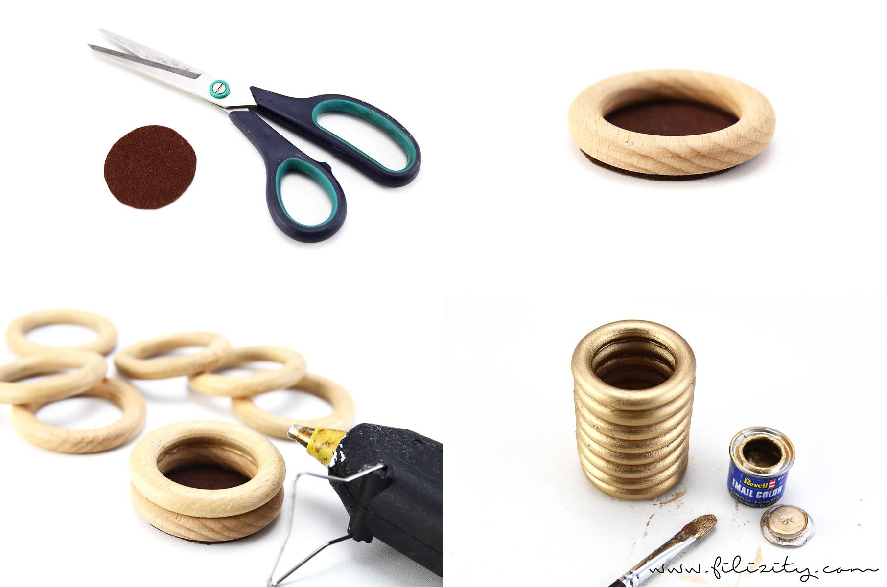 DIY:  Goldene Reagenzglas-Vase aus Gardinenringen selber machen #vase #gold #herbst