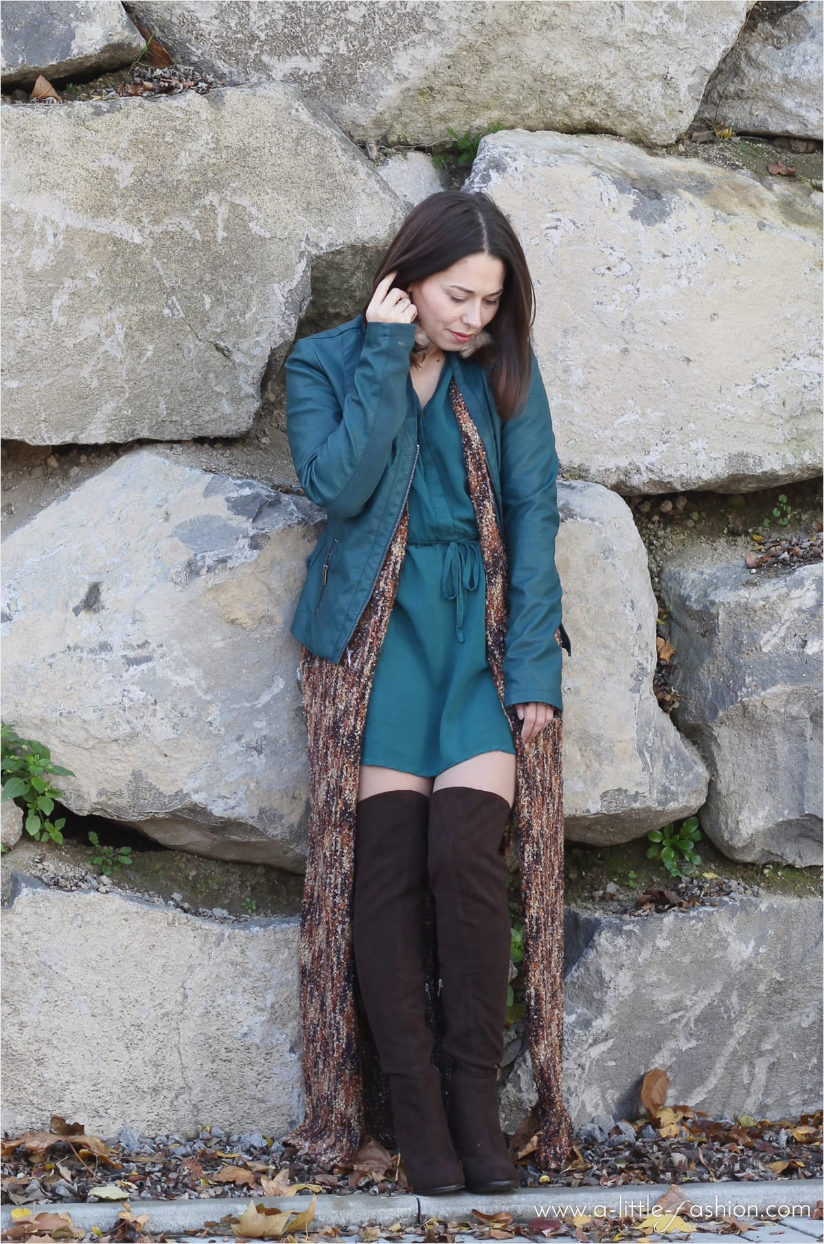 herbst outfit strick mantel leder jacke kleid overknees. Black Bedroom Furniture Sets. Home Design Ideas