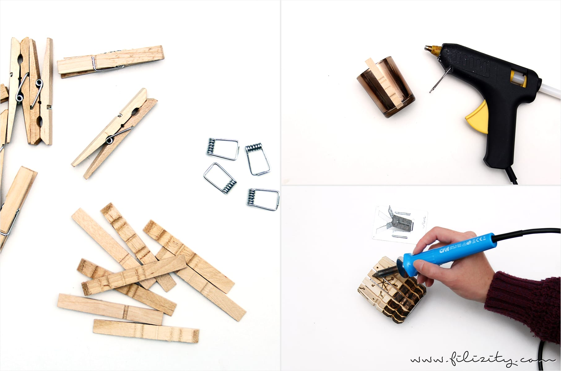 Brandmalerei: DIY Teelicht-Kerzen-Halter aus Holz-Wäscheklammern
