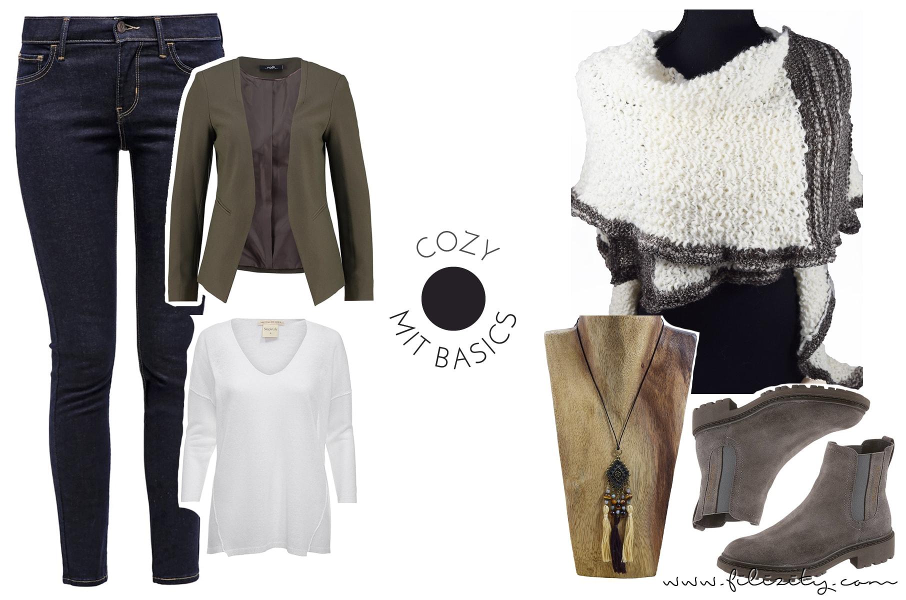 Cozy Look für den Herbst mit Jeans, Pullover und Blazerjacke