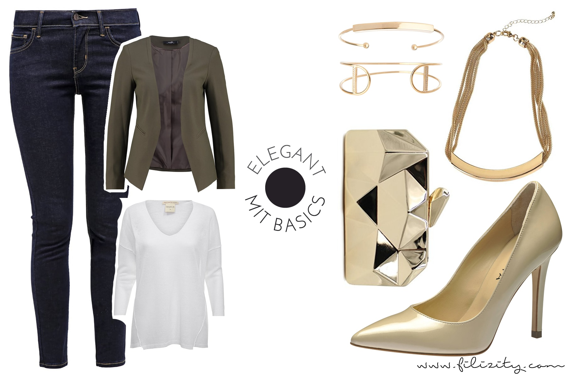 Eleganter Look für den Herbst mit Jeans, Pullover und Blazerjacke