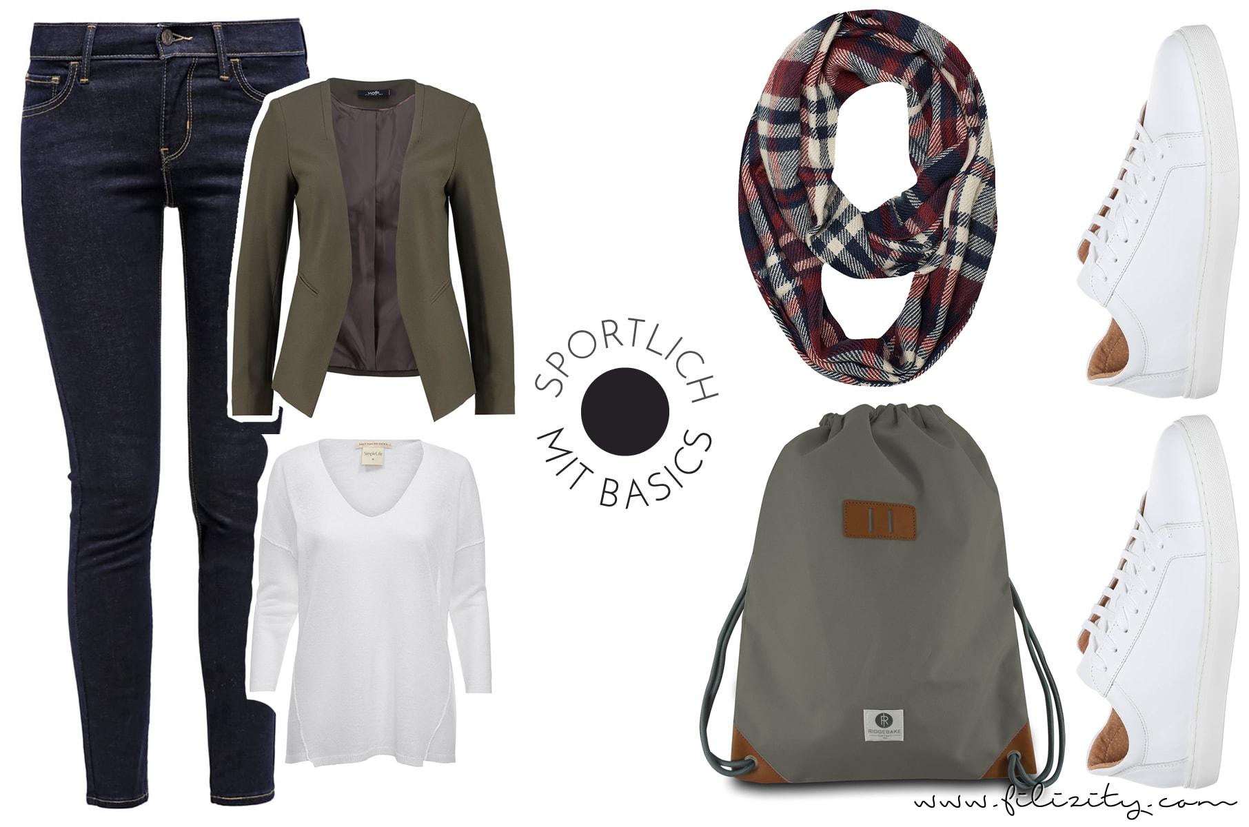 Sportlicher Look für den Herbst mit Jeans, Pullover und Blazerjacke