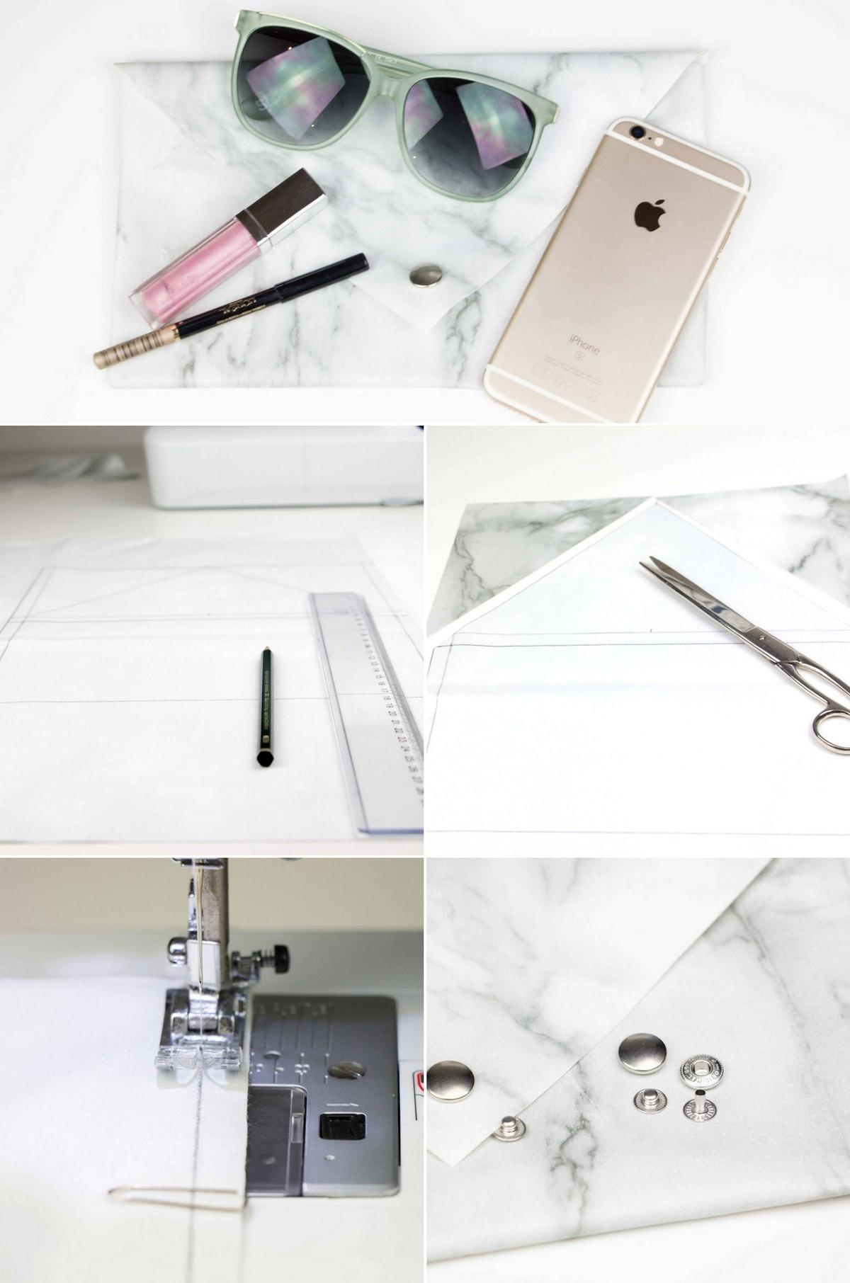 DIY: Stylische Marmor Clutch in 15 Minuten nähen