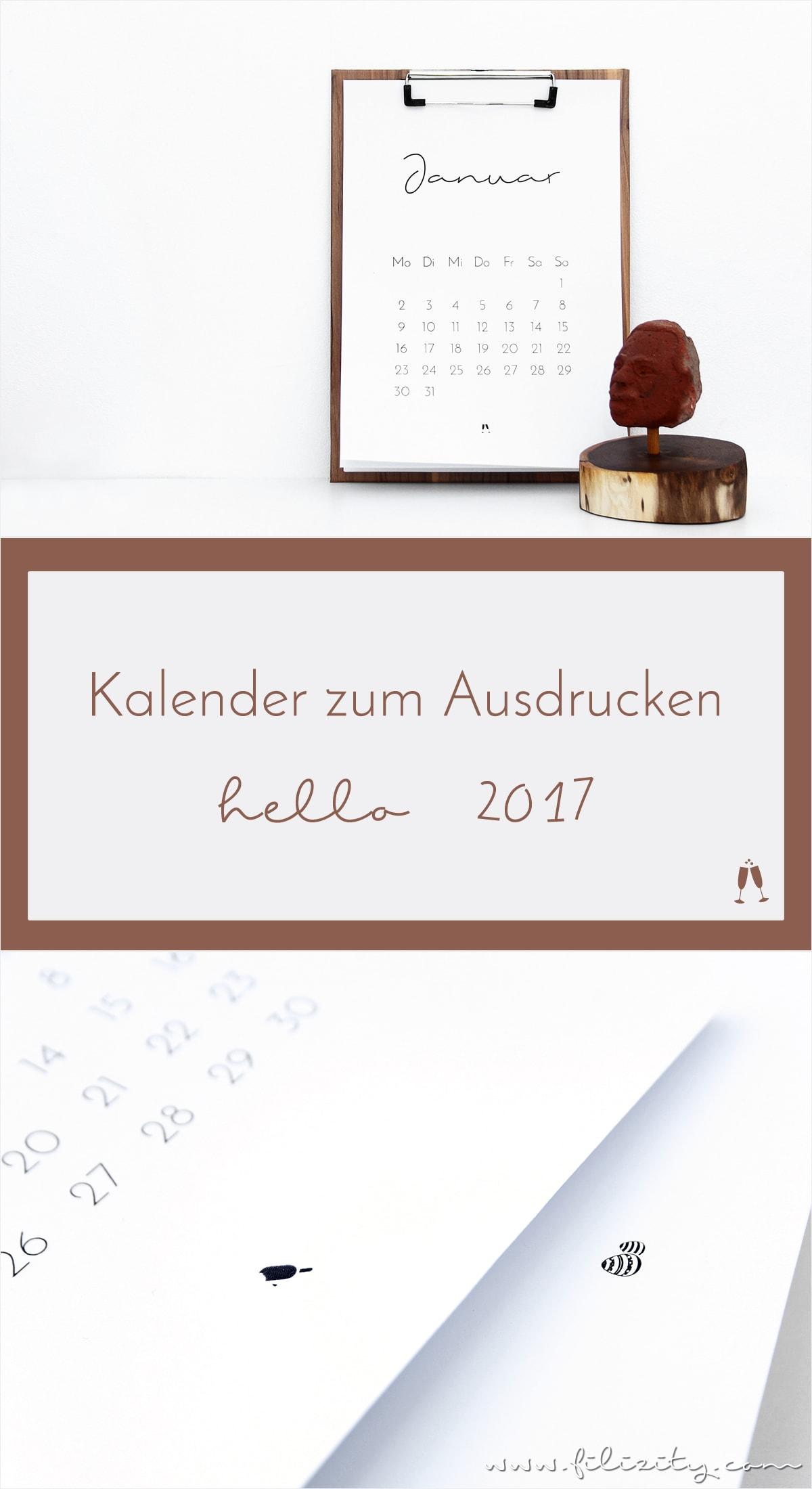 [ Free Printable ] Minimalistischer Kalender für 2017 | Druckvorlage