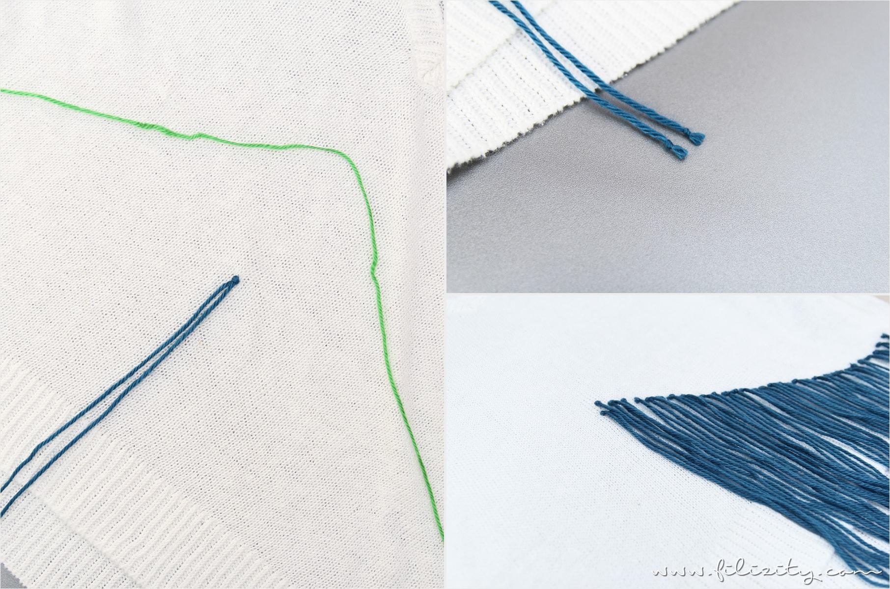 DIY Fransen-Pullover in Greenery Grün und Blau