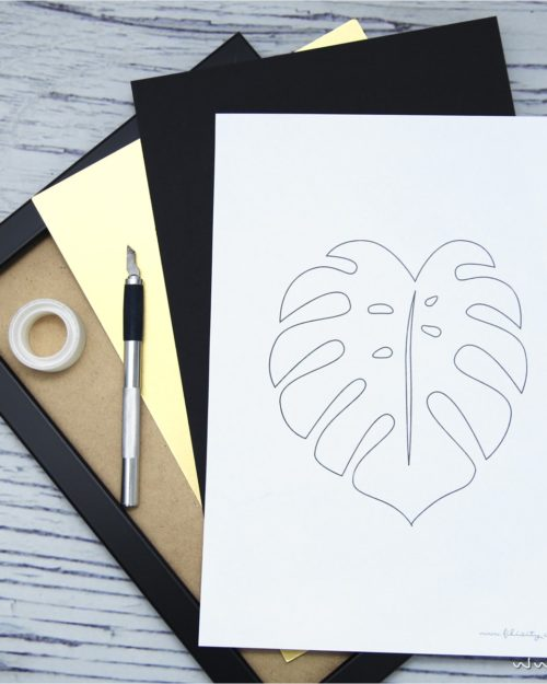 3D Cut-out-Bilder Monstera und Palmenblatt