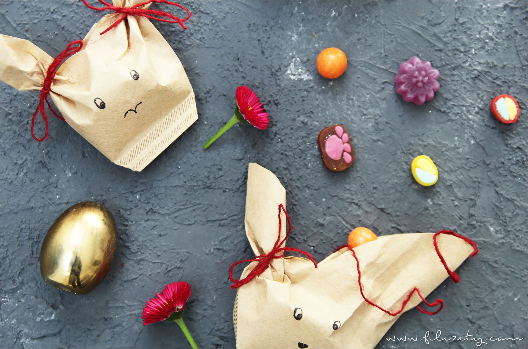 DIY Verpackung für Ostergeschenke: Hasentüten aus Kaffeefiltern
