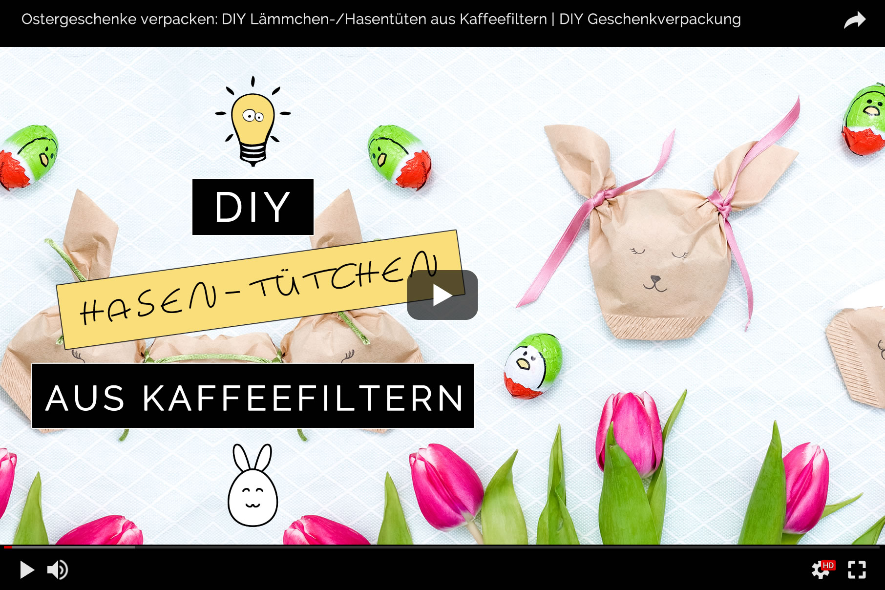 Ostergeschenke verpacken: DIY Lämmchen-/Hasentüten aus Kaffeefiltern basteln | Filizity.com | DIY-Blog aus dem Rheinland #ostern #geschenkidee