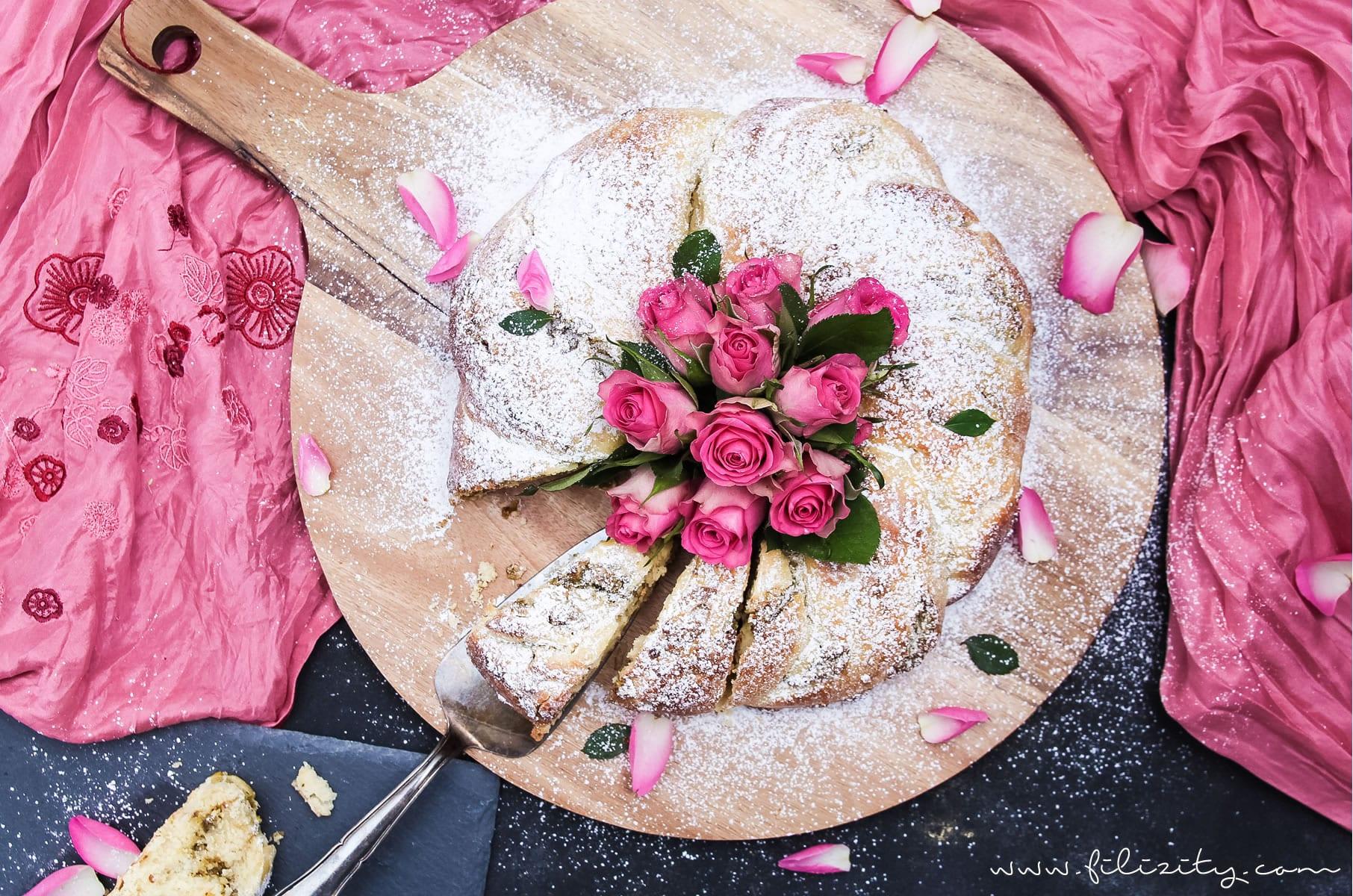 Osterkranz Rezept mit Pistazien-Rosen-Füllung