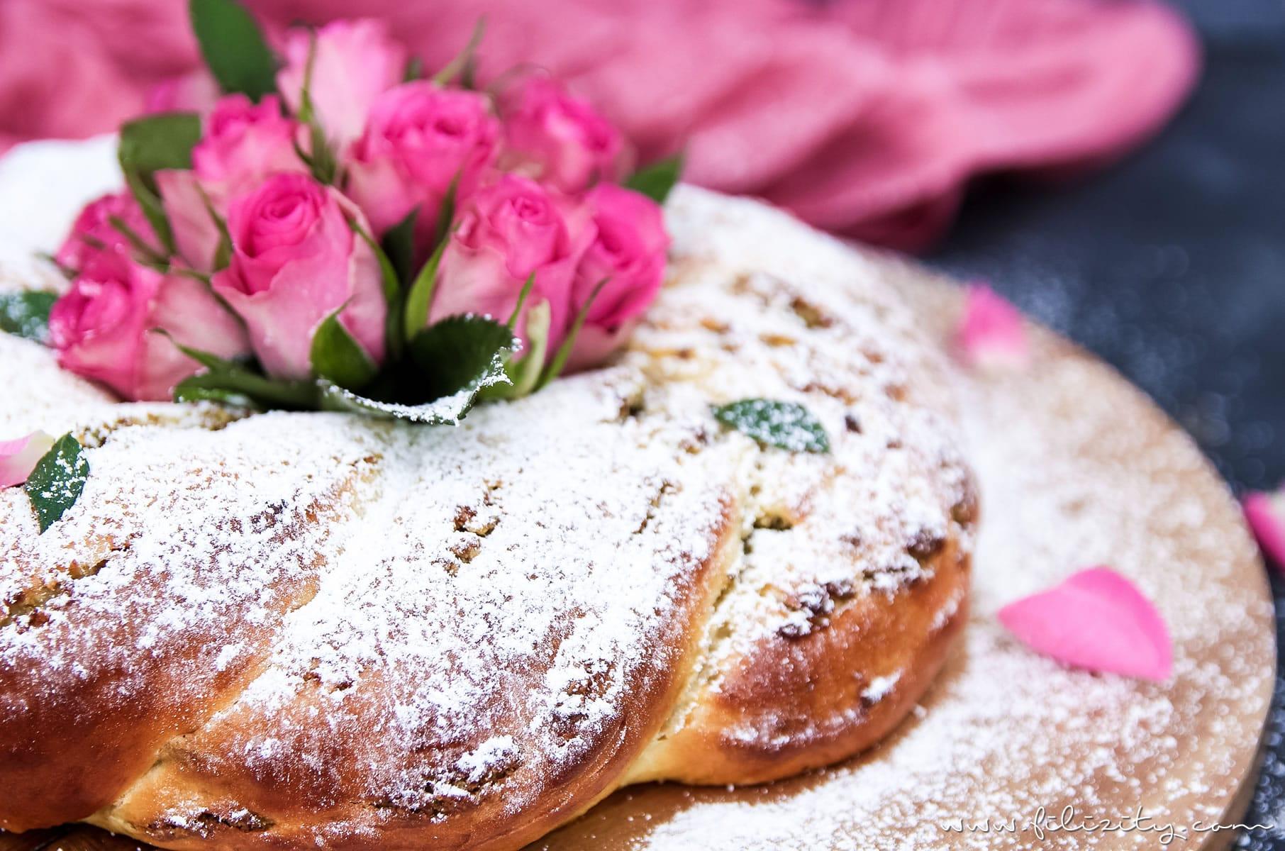 Osterkranz backen mit diesem einfachen Osterkranz Rezept   Hefekranz mit orientalischer Pistazien-Rosen-Füllung zu Ostern   Filizitiy.com   Food-Blog aus dem Rheinland #ostern #osterrezept #osterkranz