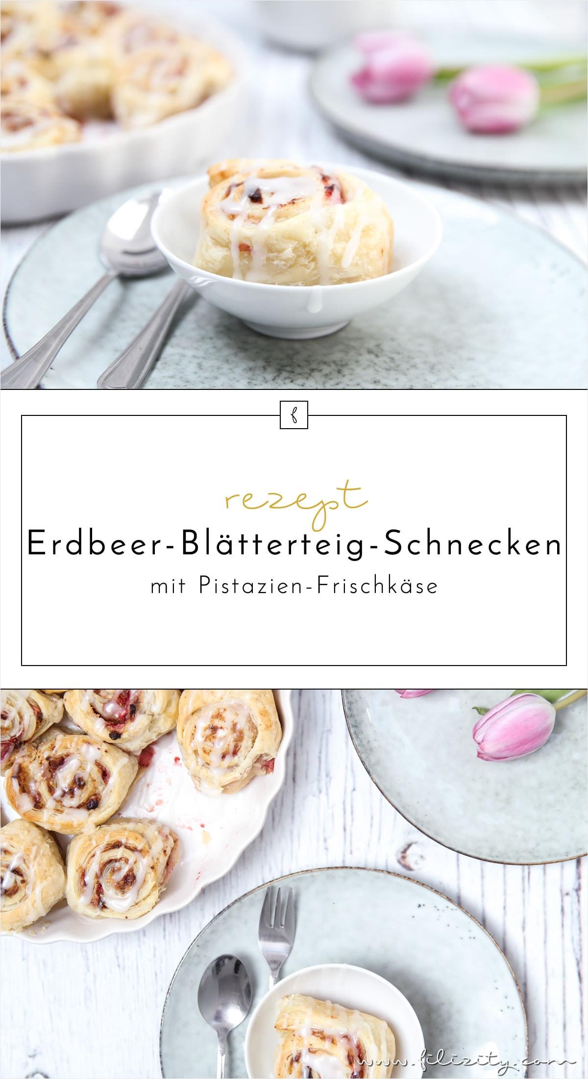 Sommer-Rezept: Erdbeer-Blätterteig-Schnecken mit Pistazien-Frischkäse