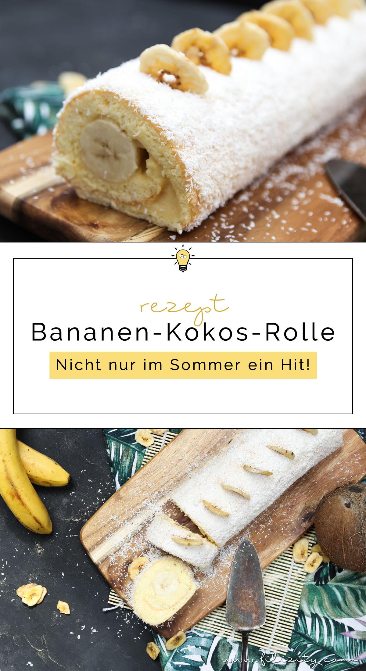 Einfaches Tortenrezept: Bananen-Kokos-Biskuitrolle mit Puddingcreme - Nicht nur im Sommer ein Hit! | Filizity.com | Food-Blog aus dem Rheinland #torte #kuchen #biskuit #bananaaaa