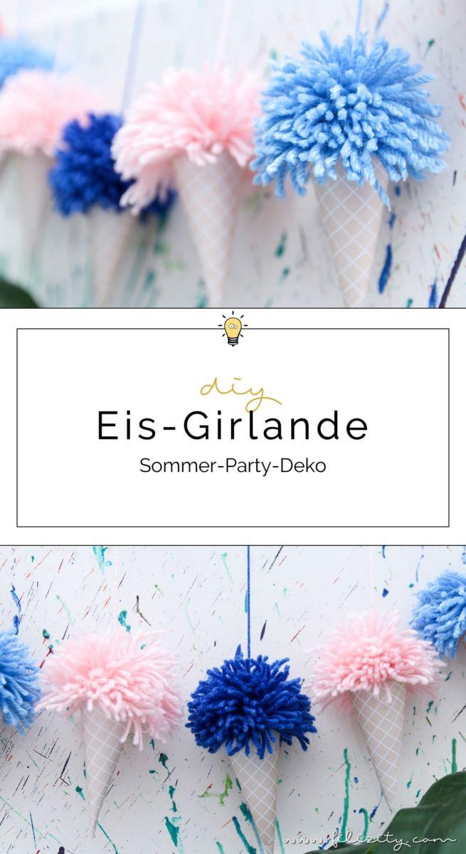diy eis girlande mit pompons erfrischende deko f r deine sommer party zum selbermachen inkl. Black Bedroom Furniture Sets. Home Design Ideas