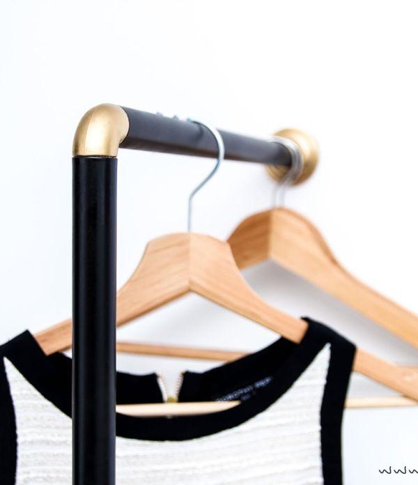 Garderobe aus Duschstange selber bauen