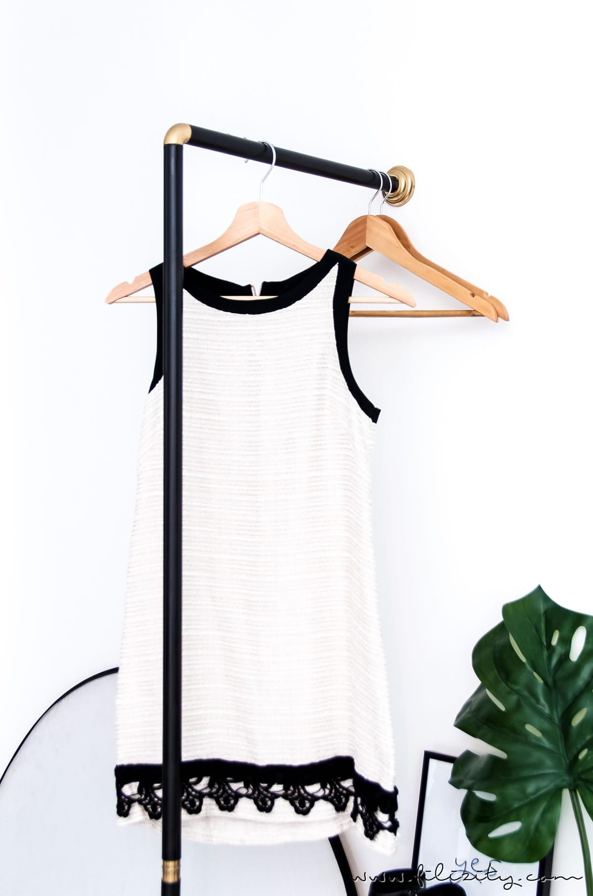 garderobe selber bauen aus einer duschstange mit dieser. Black Bedroom Furniture Sets. Home Design Ideas