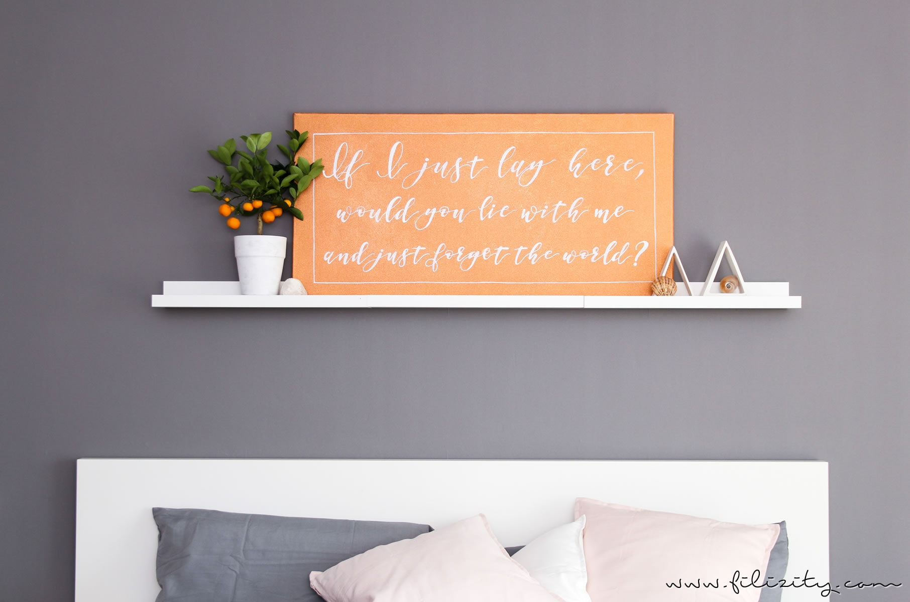 wanddeko leinwand mit handlettering quotes. Black Bedroom Furniture Sets. Home Design Ideas