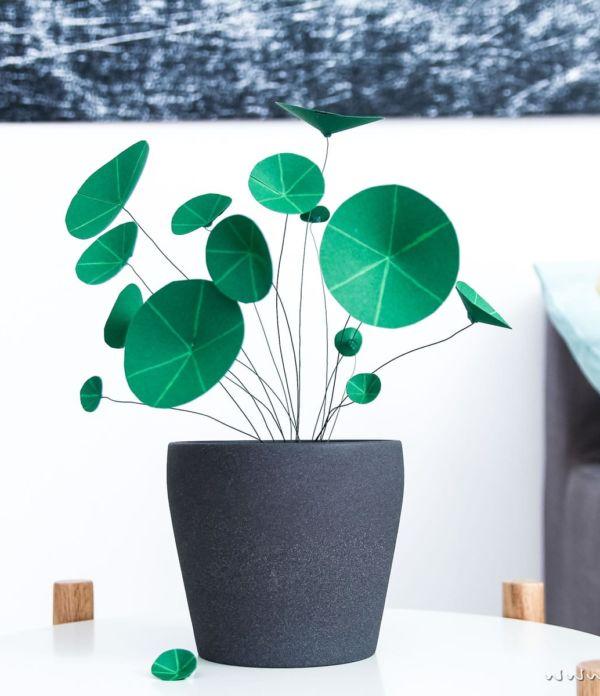 Kunstpflanzen aus Papier: Chinesischer Geldbaum (Ufopflanze)